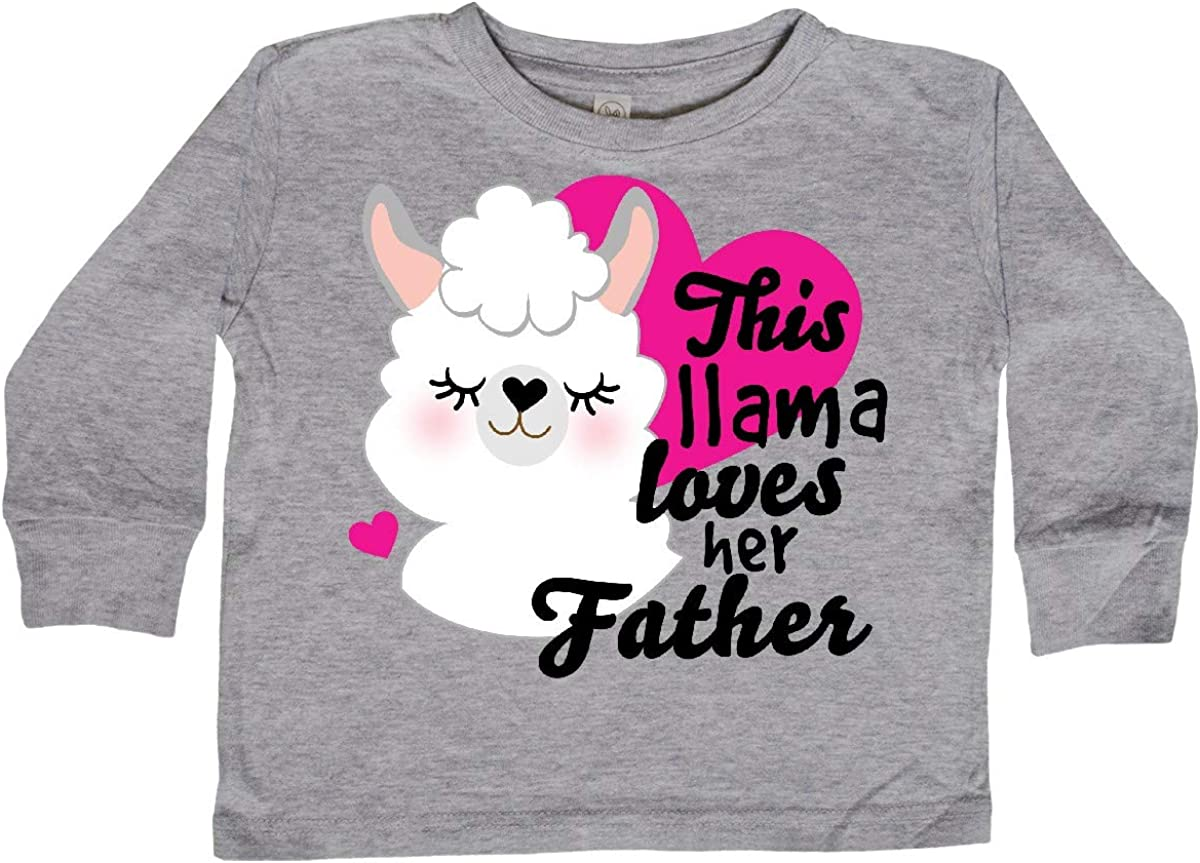 inktastic Valentines Day This Llama Loves Her Father Toddler Long Sleeve T-Shirt