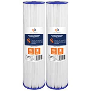 """Aquaboon 5 Micron 20"""" Big Blue Pleated Sediment Water Filter Replacement Cartridge   Whole House Sediment Filtration   Compatible with ECP5-BB, AP810-2, HDC3001, CP5-BB, SPC-45-1005, ECP1-20BB, 2-Pack"""