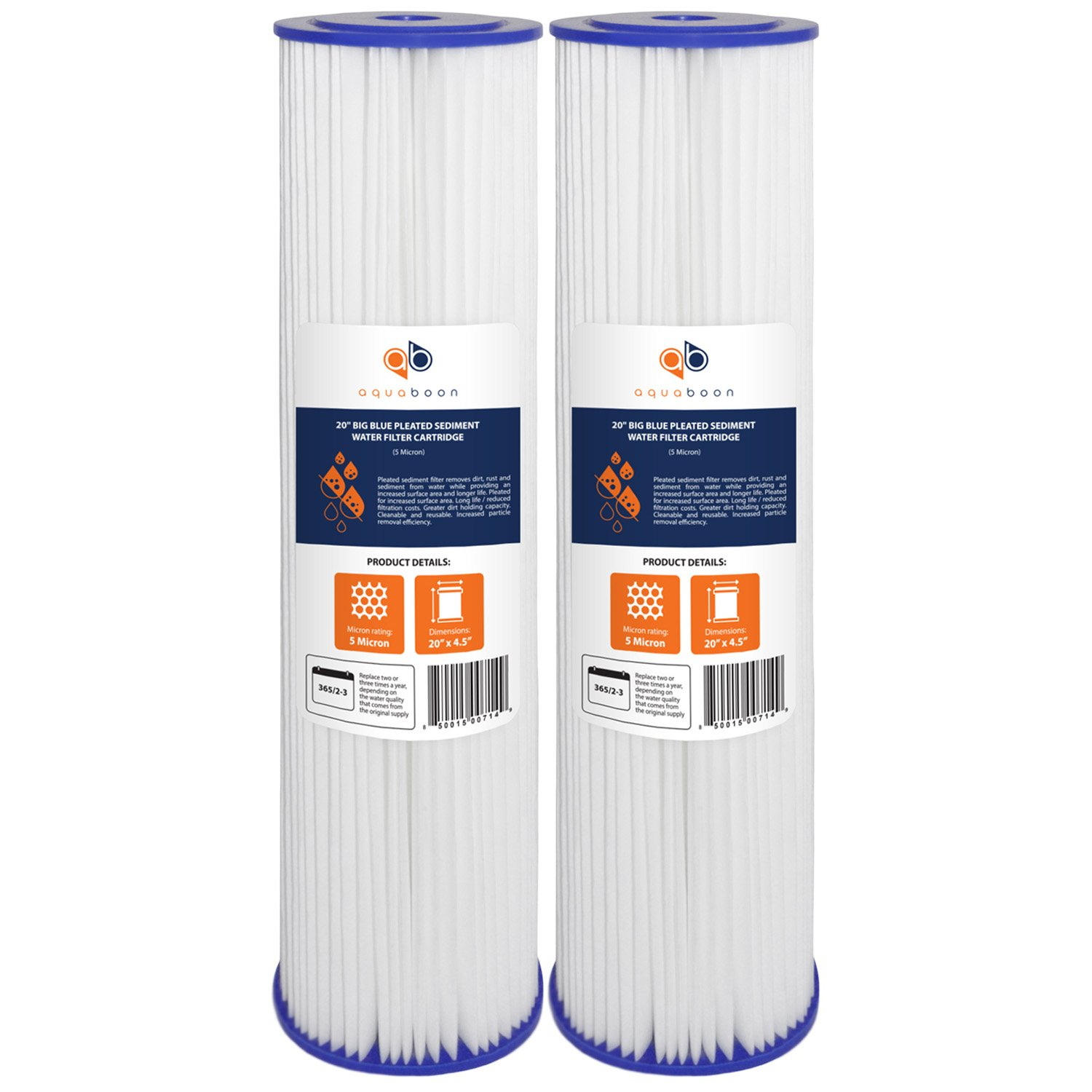 2-PACK Of 5 Micron Big Blue 20'' x 4.5'' Pleated Washable Sediment Water Filter Cartridge by Aquaboon