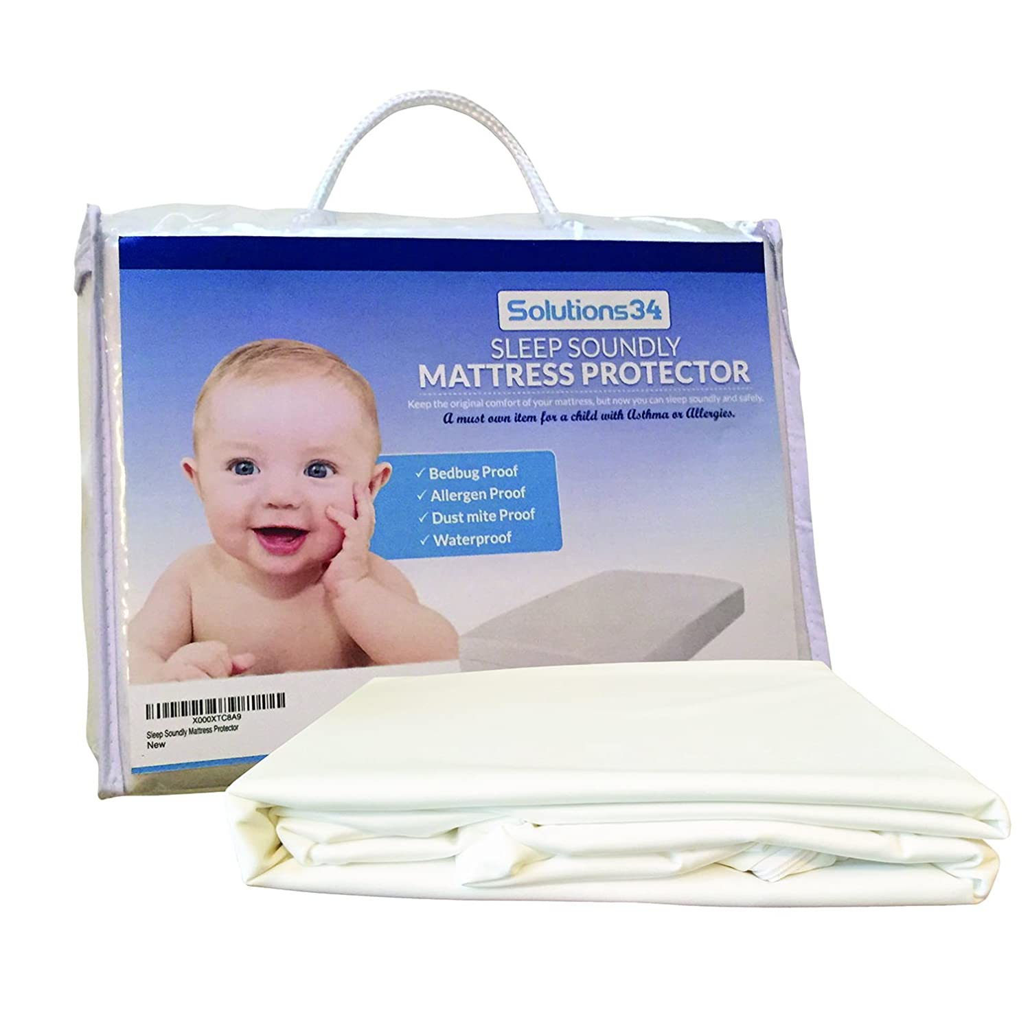 Best Crib Mattress Protector - Zippered Encasement Will Keep Your Baby Safe From Bed Bugs, Dust Mites, and Allergens. This Cover is 100% Waterproof. Necessity for any Child with an Allergy Problem. Solutions 34