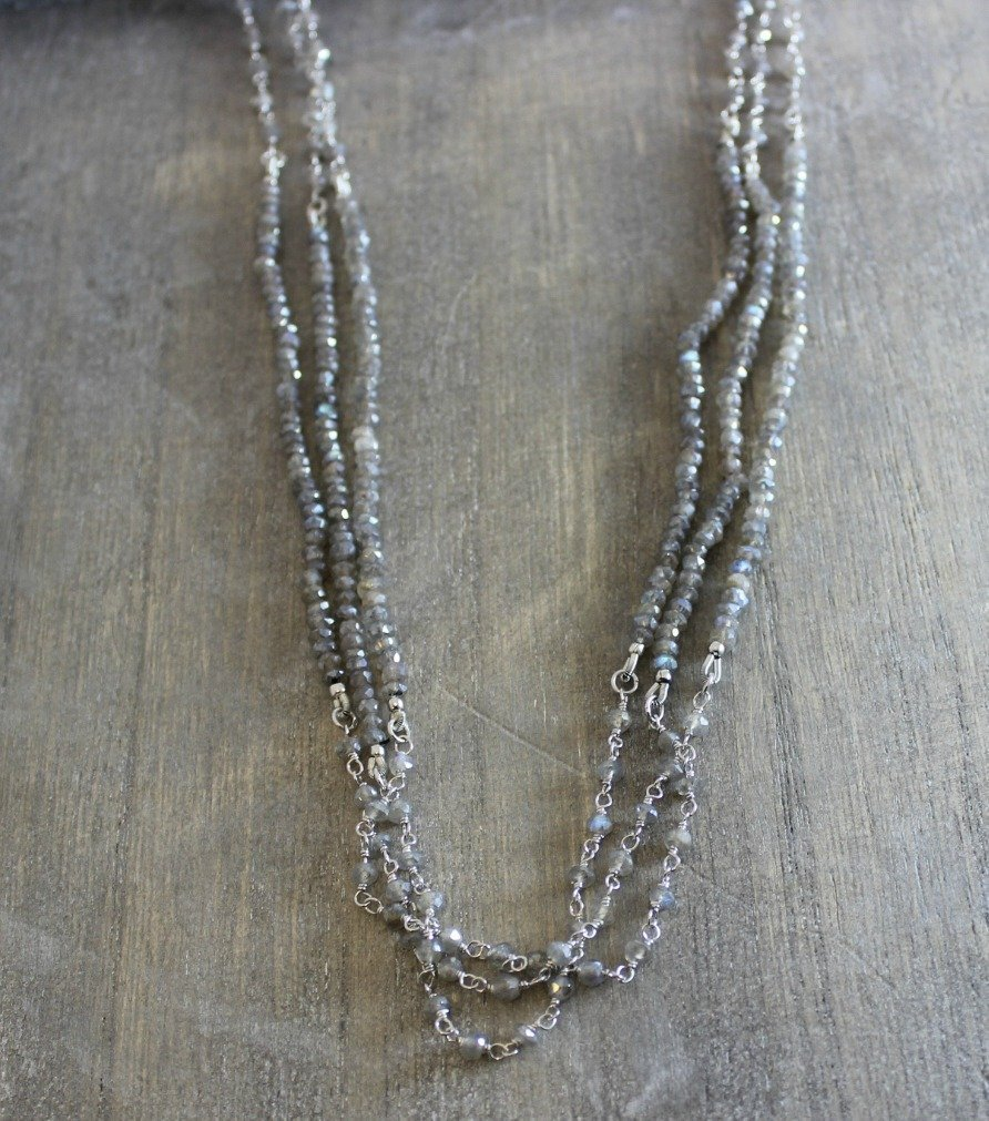 95e75f06015c7 Labradorite Gemstone Wire Wrapped Long Sterling Silver Necklace