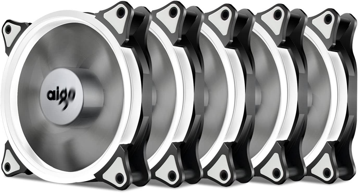 Aigo Halo - Ventilador de anillo LED (3 unidades, 120 mm, 12 cm, 120 mm, con cojinete de manga, ventilador silencioso LED para computadora, refrigeradores de CPU y radiadores) 5 Pack White 120 mm
