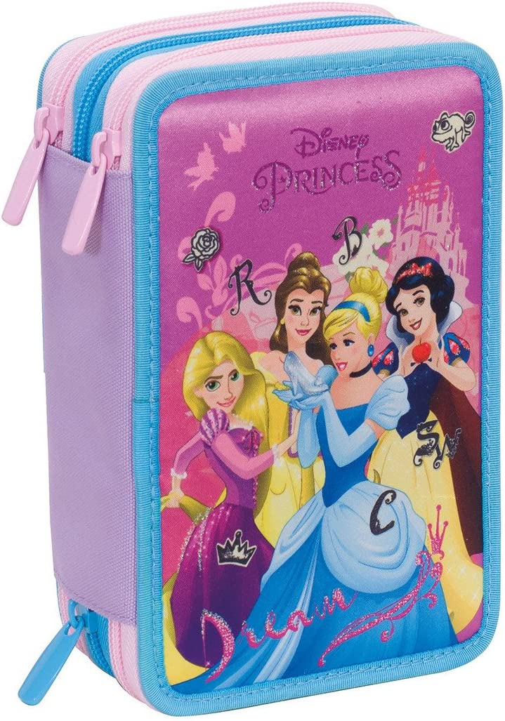 Estuche 3 Cremalleras Disney , Princess Dreamy Dress , Rosa , Pisos con Contenido: Lápices, Rotuladores, Boligrafos ...: Amazon.es: Equipaje