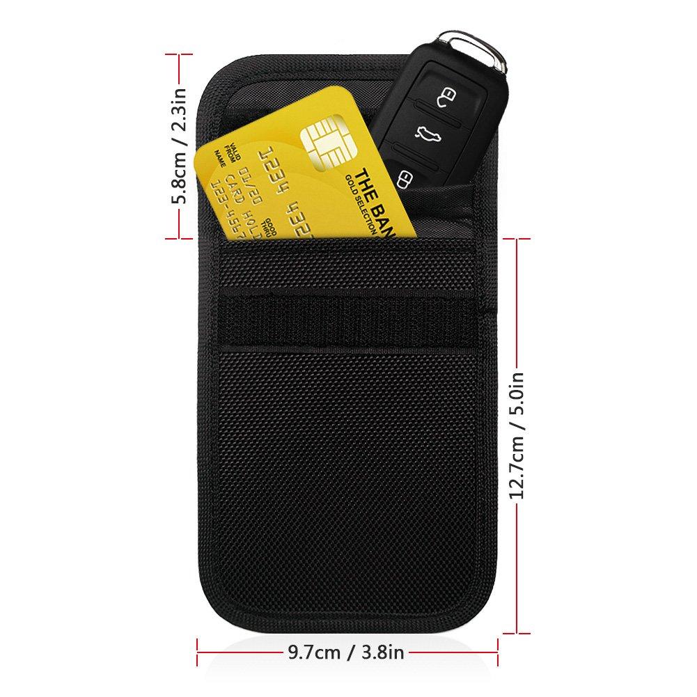 Alintor Car Key Signal Blocker Case - RFID Blocking, for Car Fob Security, Anti theft Lock Devices, Keyless Entry Remote Control (Black)