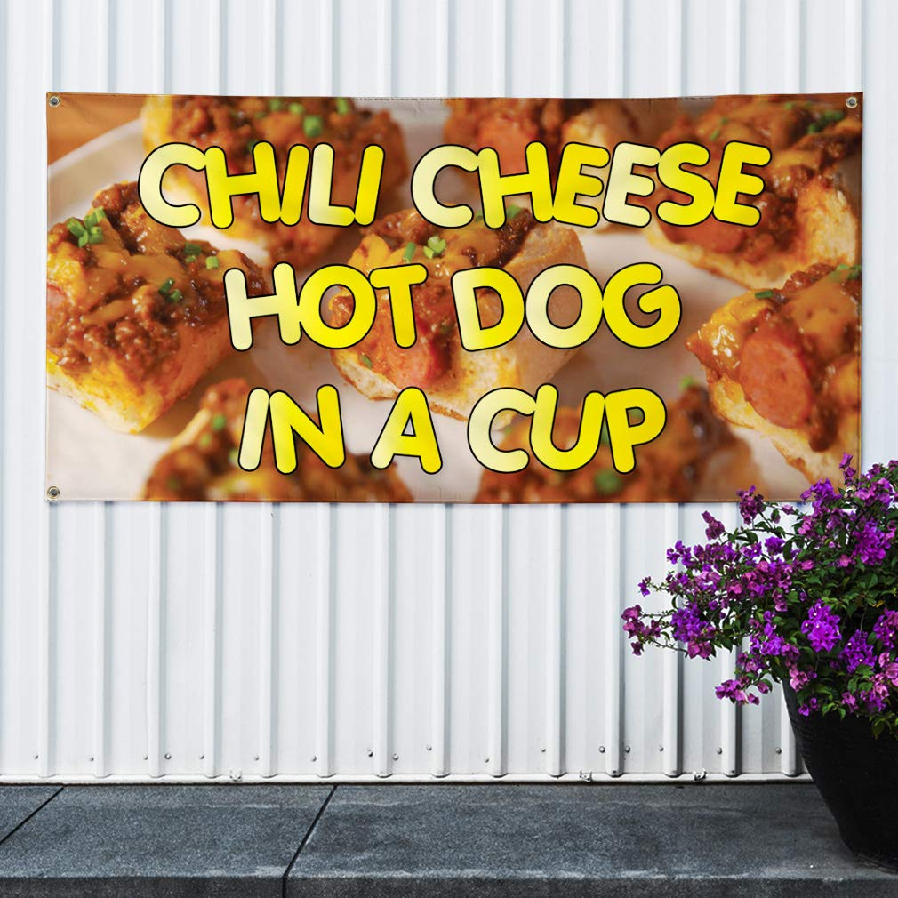 Set of 3 24inx60in Multiple Sizes Available 4 Grommets Vinyl Banner Sign Chili Cheese Hot Dog in A Cup Outdoor Marketing Advertising Orange
