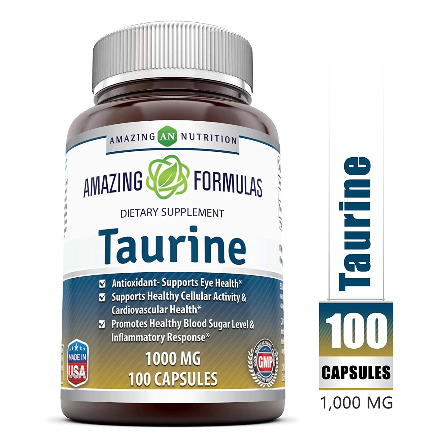 Amazing Formulas Taurine * 1000mg Pure L Taurine Amino Acid Supplement * 100 Capsules (Non-GMO)* Potent Antioxidant * Supports Eye Health, Healthy Cellular Activity & Cardio