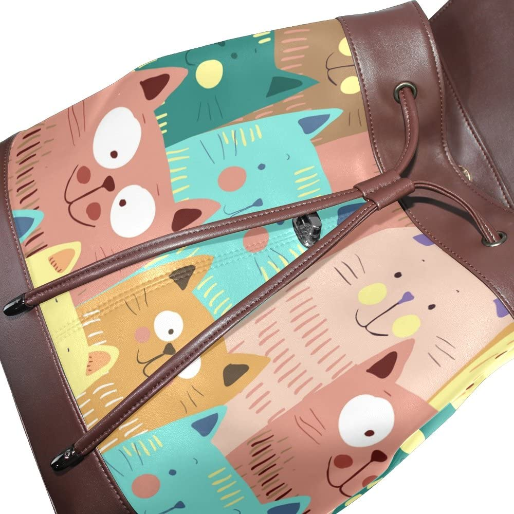KUWT Cute Cats PU Leather Backpack Photo Custom Shoulder Bag School College Book Bag Rucksack Casual Daypacks Diaper Bag for Women and Girl