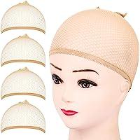 FANDAMEI Wig Cap, 4PCS Light Brown Mesh Wig Cap Net, Closed End Hair Mesh Net Wig Caps, Liner Weaving Caps for Women…