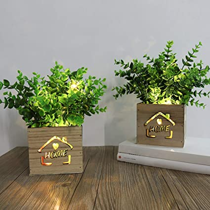 Acelist 2 Pcs Decorative Artificial Plants With Led Lights In Wooden Box 11 X 9 X 26cm Fake Plants Artificial Plant Outdoor For Home Office Desk Kitchen Decoration Valentine S Day Mother S Day Amazon Co Uk