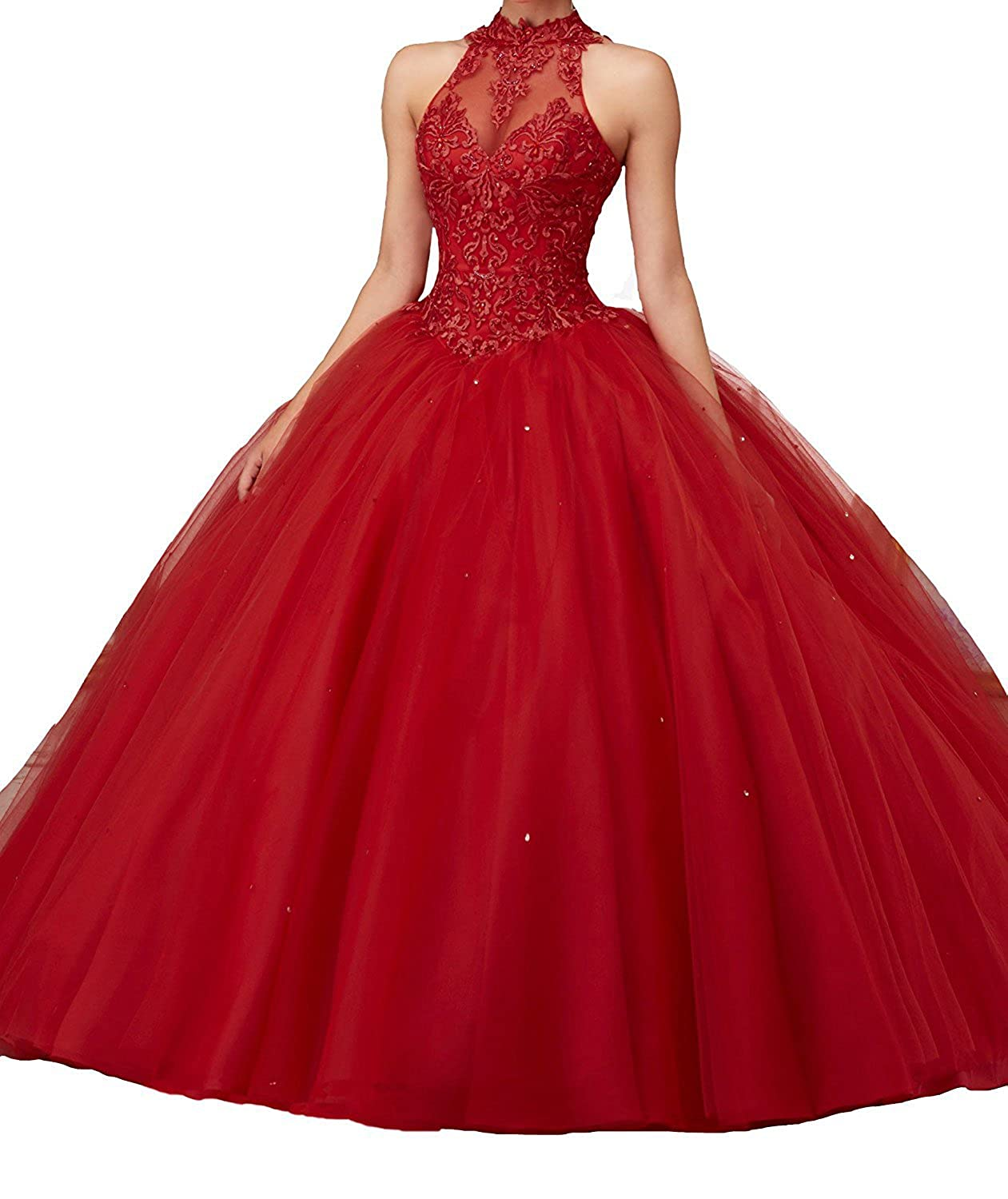 5cc39480 Amazon.com: Women's Lace Pageant Quinceanera Dresses Ball Gown Halter Prom  Evening Gowns: Clothing