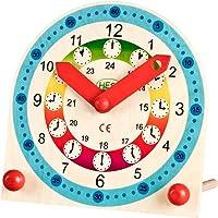 farbenfrohe Kinder-Holz-Lernuhr für Uhr Mädchen Jungen Wand-Uhr bunt ca. 18 x 18 x 2 cm ★ HERGESTELLT in DEUTSCHLAND - kein Asien Import! ★