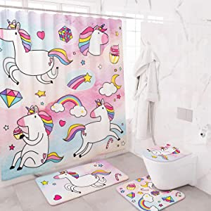 Cooper's Store 4 Piece Complete Unicorn Shower Curtain Sets for Girls, Pink Bathroom Decor Accessories Set with Rugs, Toilet Lid Covers and Bath Mat, 12 Hooks, Waterproof Curtains for Kids