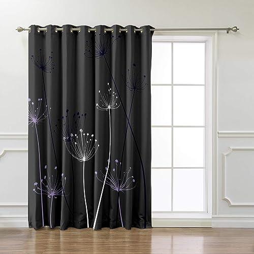 Cloud Dream Home Purple and White Thistle Darkening Blackout Window-Treatment-Panels