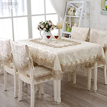 Ustide Large Square Lace Tablecloth Ecru Water Soluble Lace Table Cover  Elegant Embroidered Table Cloth