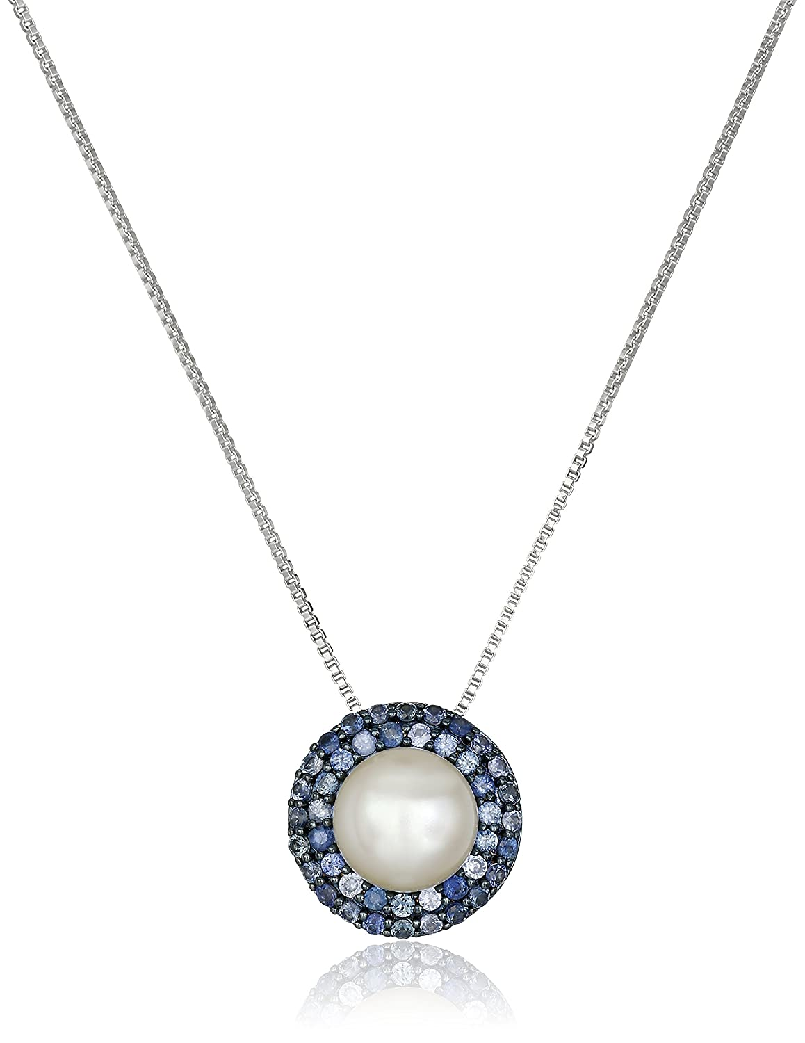 Sterling Silver Freshwater Cultured Pearl with Sapphire Halo Pendant Necklace, 18