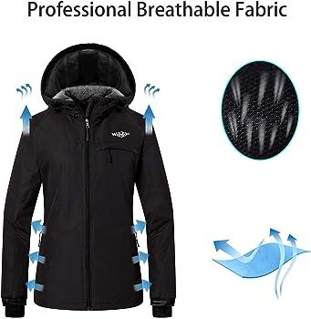 ecfb027a34ba Women s Mountain Ski Jacket Windproof Fleece Snow Coat Rainwear Waterproof  Hooded Warm Parka. Wantdo Women s Hooded Skiing Jacket Mountaineering  Insulated ...