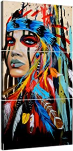 American Indian Decor Native American Wall Art Truly Beauty Painting Native American Girl Feathered Women Modern Home Wall Decor Canvas Artworks Picture Art HD Print Painting On Canvas 3 Piece Framed