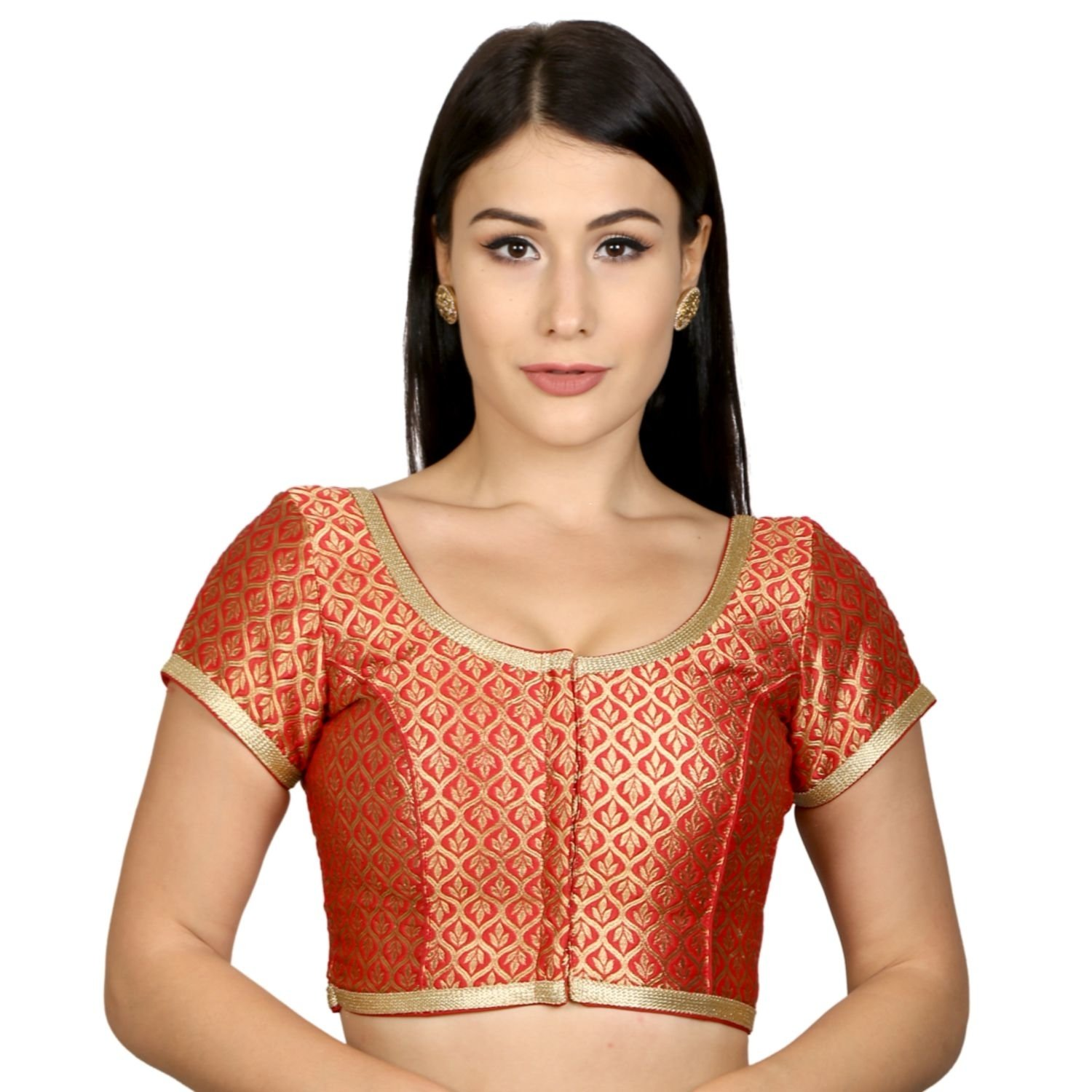 ac97fed30ea6e Rinkoo Womens Brocade Designer Princess Cut Short Sleeves Padded Readymade  Saree Blouse (R122)  Amazon.in  Clothing   Accessories