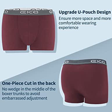 4 Pack EKQ Mens Boxers Trunks Underwear Multipack Soft Cotton Boxer Shorts Underpants for Men