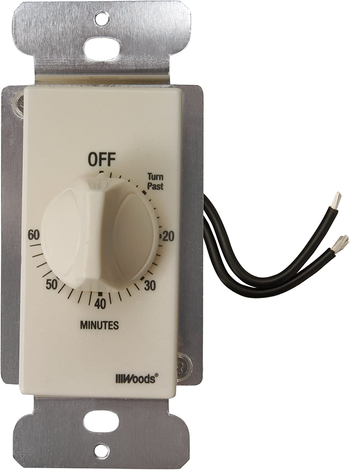 Woods 59718 In-Wall 60 Minute Spring Wound Timer, Light Almond