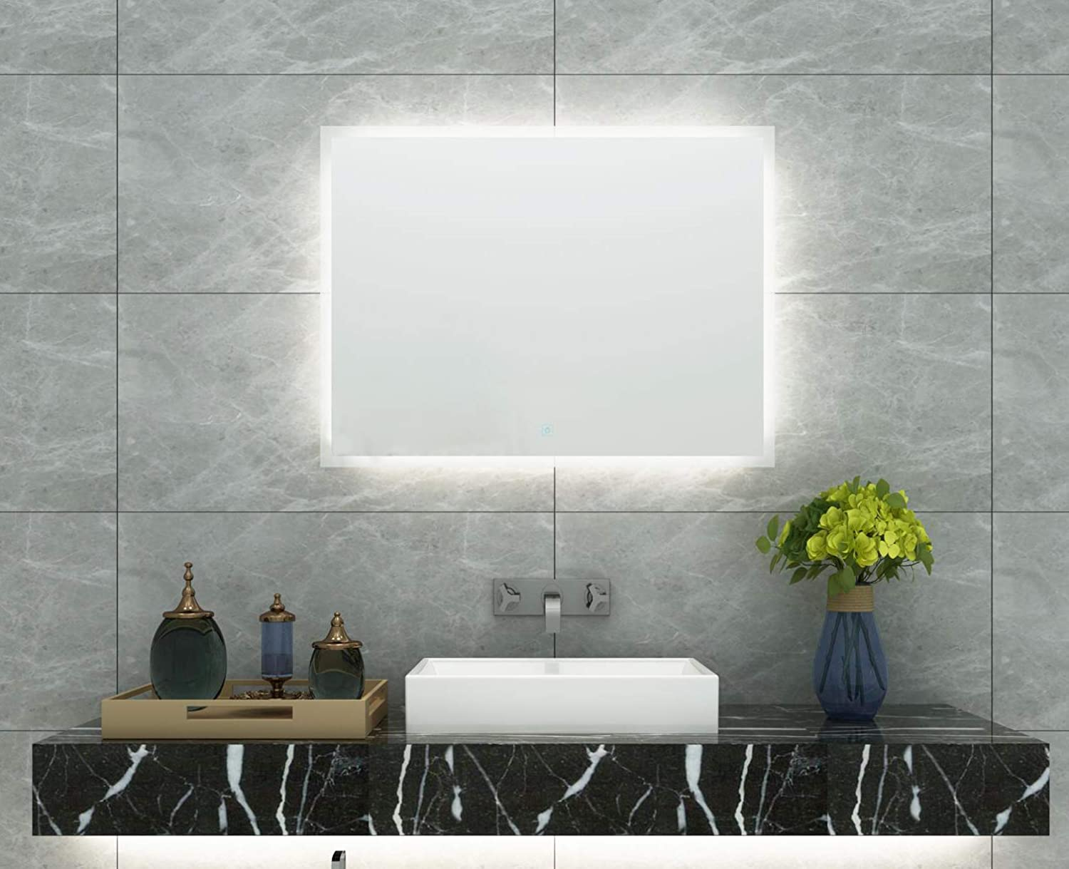 DIYHD FLB W36 X H24 Box Diffusers Led Backlit Vanity Square Wall Mount Bathroom Finger Touch Light Mirror, 36 24 ,