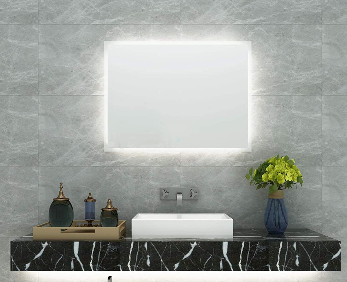 DIYHD W36 xH24 Box Diffusers Led Backlit Bathroom Mirror Vanity Square Wall Mount Bathroom Finger Touch Light Mirror