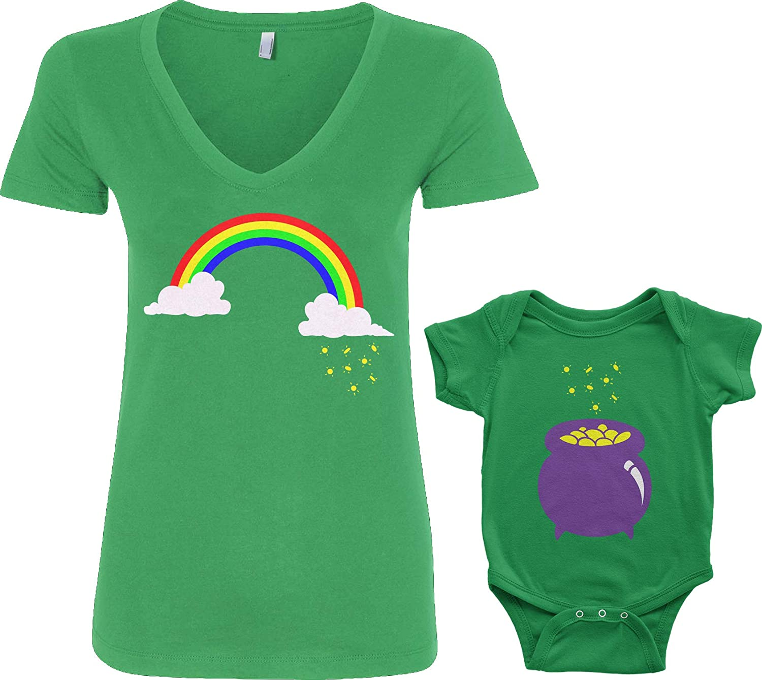 Baby: 12M, Kelly Green|V-Neck: M, Kelly Green Threadrock Rainbow /& Pot of Gold Infant Bodysuit /& Womens V-Neck T-Shirt Set