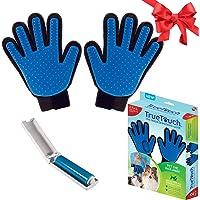 True Touch Five Finger Deshedding Glove- Premium Version, Gentle Grooming Glove Great…