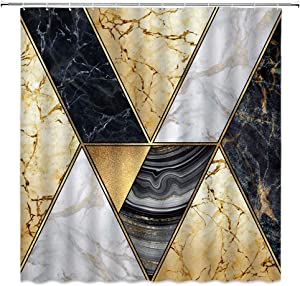 "XZMAN Geometric Marble Shower Curtain Abstract Marble Texture Lines and Hazy Stripes Art Modern Blue Grey Black White Gold Fabric Bathroom Decor Curtain with Hooks,(70"" WX70 H)"