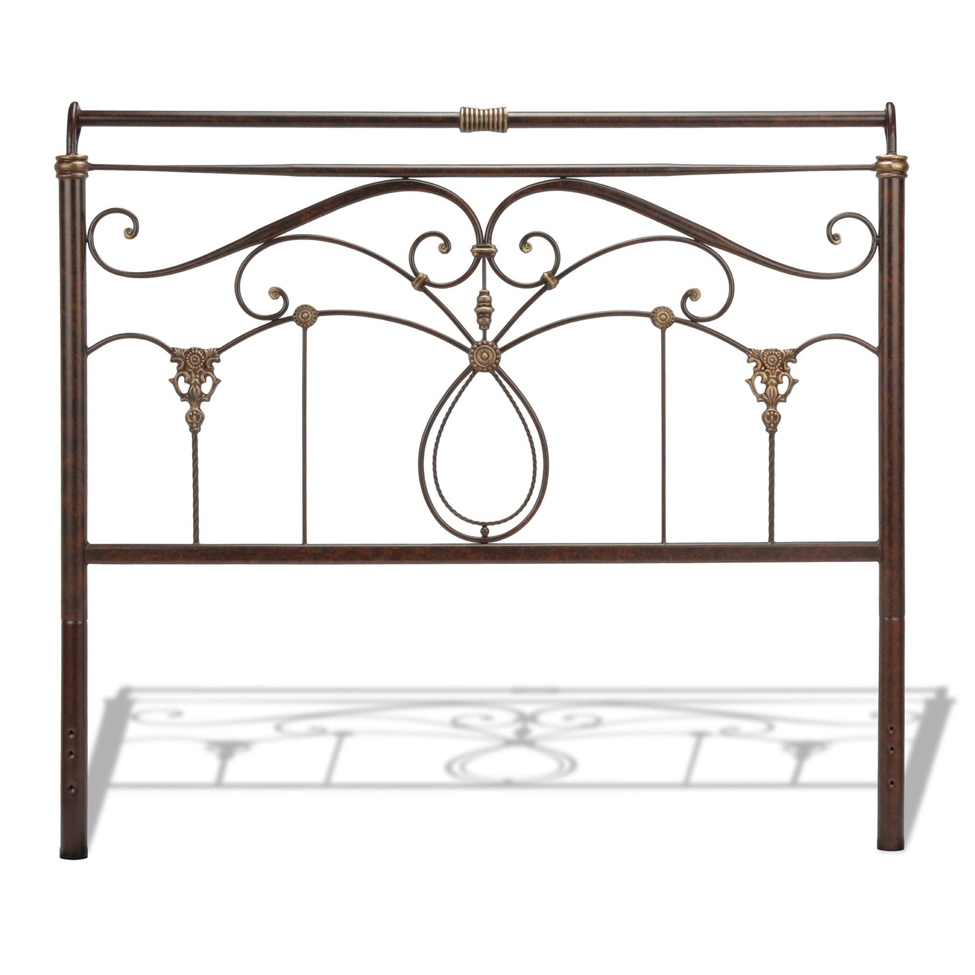 Leggett & Platt Lucinda Metal Headboard Panel with Intricate Scrollwork and Sleigh-Styled Top Rail, Marbled Russet Finish, Queen