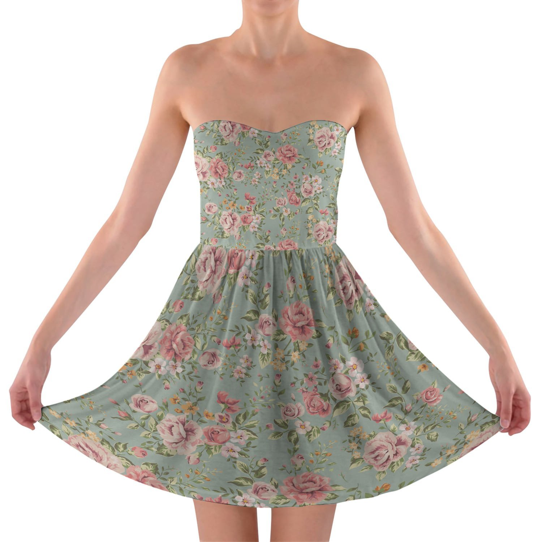 Pastel Floral Wallpaper Strapless Bra Top Dress