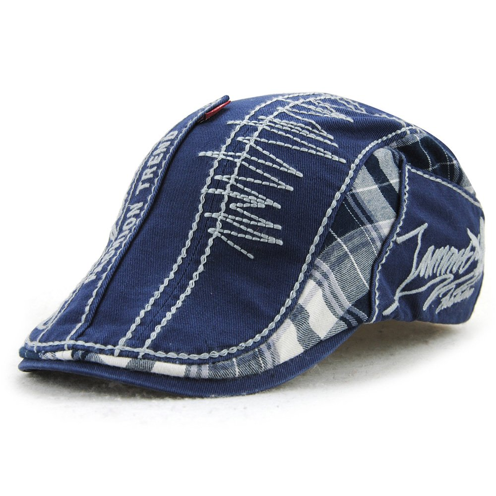 FayTop Men's Cotton Flat Cap newsboy IVY Irish Cabbie Scally Cap Cabbie Driving Caps Hats E90-blue