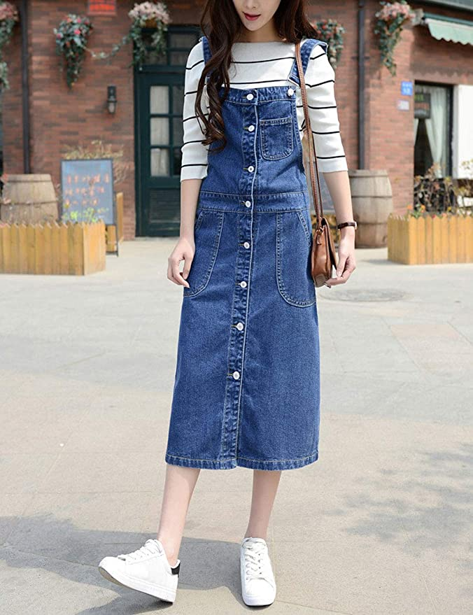 e118204541c Yeokou Women s Midi Length Long Denim Jeans Jumpers Overall Pinafore Dress  Skirt  Amazon.ca  Clothing   Accessories