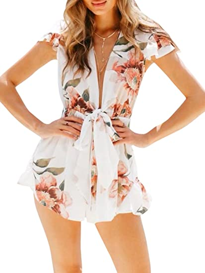 f37cc180f99 Image Unavailable. Image not available for. Color  Simplee Women s Sexy  Deep V Neck Chiffon Floral Print Tie Front Jumpsuit Romper White
