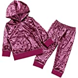 BSGSH Toddler Girls Clothes Tracksuit Fashion Solid Color Velvet Hooded Sweatshirt and Pants Suit Outfits