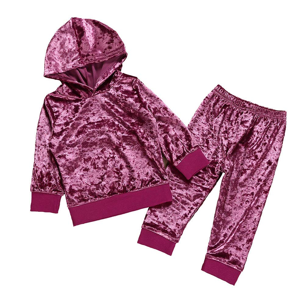 Kid Clothes Toddler Kid Baby Girls Boys Long Sleeve Solid Hoodie Tops+Pants Outfits Set Children Corduroy Hooded Sweatshirt + Trousers Suit For Children Winter Toddler Baby Girl Kid (Purple, 6-12M)