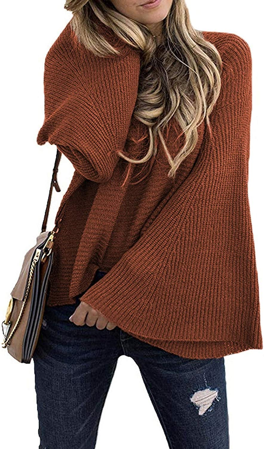 DLNCTD 2019 Christmas Flare Sleeve Pullovers o Neck Computer Knitted Casual Oversized Sweater Plus Size Winter