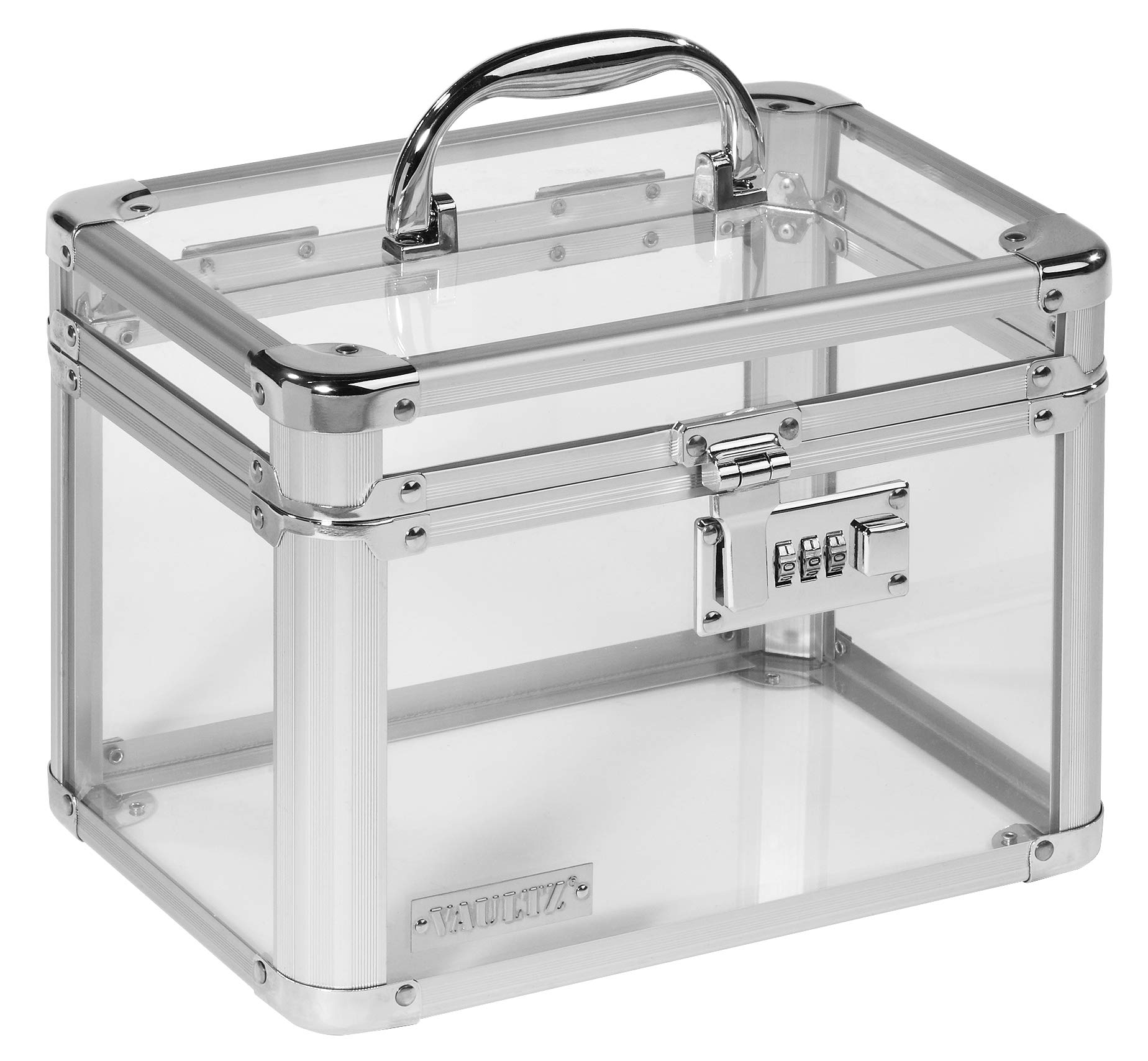 Vaultz Personal Storage Lockbox, Combination Lock, Clear Acrylic and Steel, 10'' x 7.8'' x 7.2'', Clear (VZ00155)