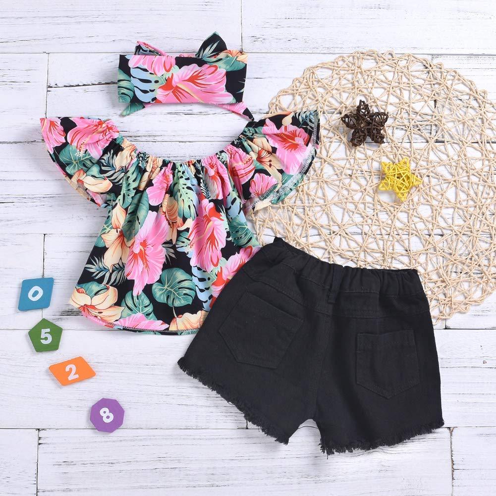 196ca376538 Amazon.com  Scfcloth Girls Kids Off Shoulder Ruffle Floral Top T-Shirt +  Hole Pants Shorts + Floral Headband Clothing Set  Clothing