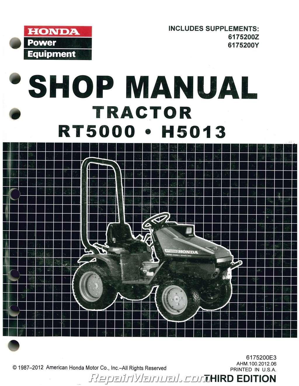 6175200E3 Honda H5013 RT5000 Lawn Tractor Shop Manual: Manufacturer:  Amazon.com: Books