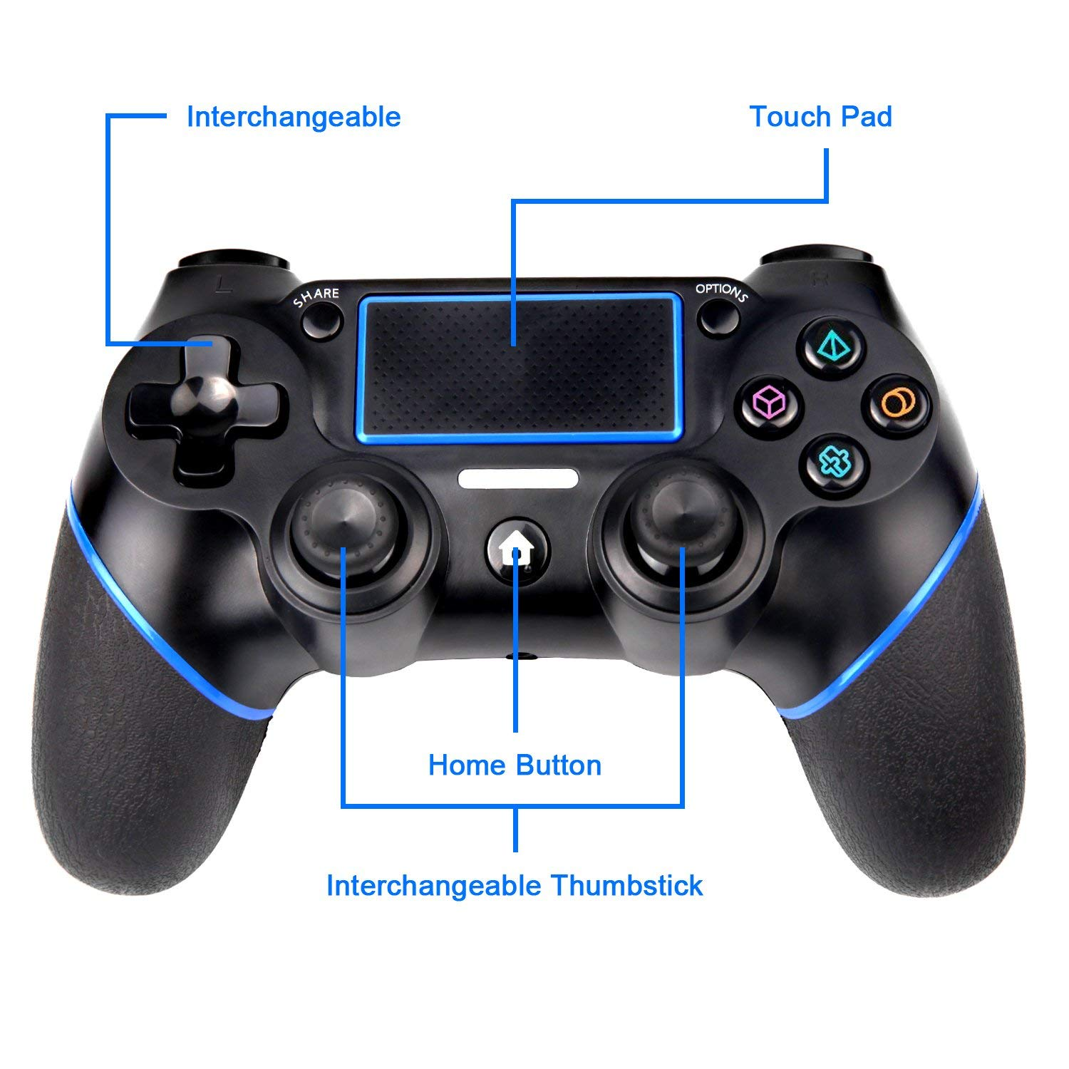 PS4 Controller, Sades C200 Wireless Bluetooth Gamepad DualShock 4  Controller for Playstation 4 Touch Panel Joypad with Dual Vibration Game  Remote