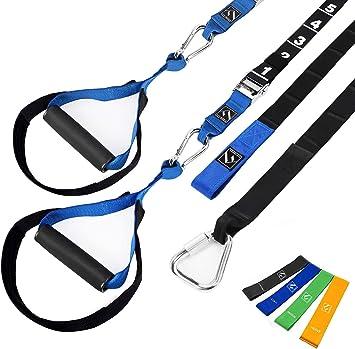 FITINDEX Kit de entrenamiento de resistencia corporal,Correas de suspensión de uso doméstico,Equipo de resistencia fitness con cintas de ...