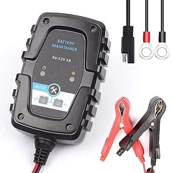 FOXSUR 6V 12V 1A Cargador de batería inteligente automático ...