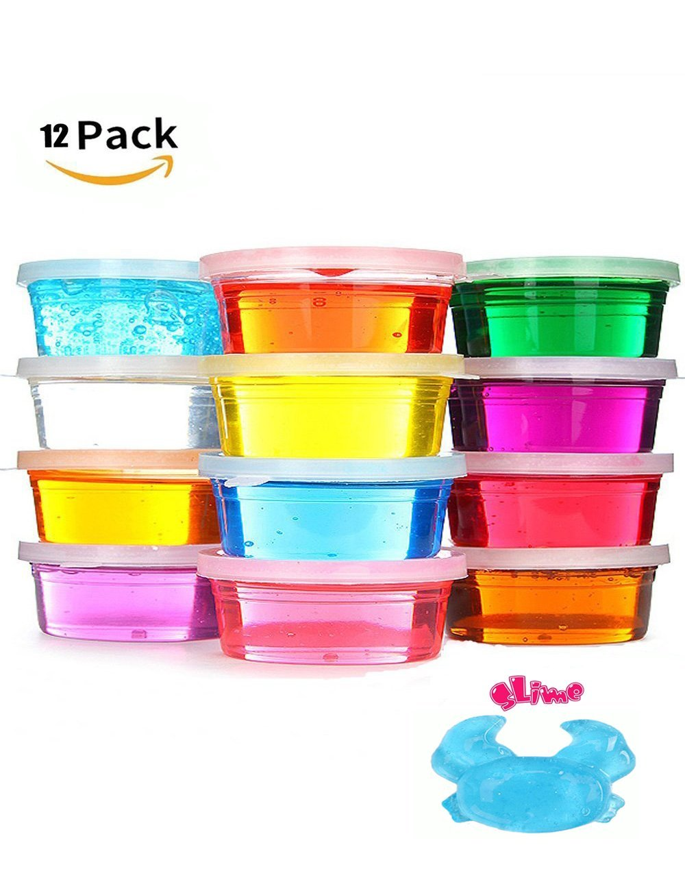 Nopson Magic Crystal Clay, Magic Crystal Soft Slime Clay Argilla colorata non tossica DIY Slime Magic Plasticine 12 colori Educativi Clear Putty Mud Toys for Kids Bambini
