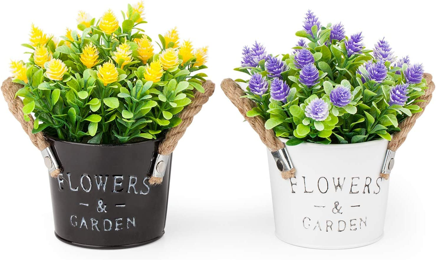 2 New Butterfly Design Ceramic Pots//Vases Table Decoration Flower Pot Yellow 4in