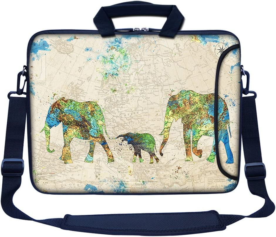 """Meffort Inc 15 15.6 inch Neoprene Laptop Bag Sleeve with Extra Side Pocket, Soft Carrying Handle & Removable Shoulder Strap for 14"""" to 15.6"""" Size Notebook Computer - Family of Elephants"""
