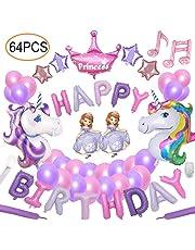Yidaxing 64pcs Unicorn Party Decoration Supplies Set De Cumpleaños con 2pcs Enorme Unicornio Globos 1 Happy Birthday Banner 48 Globos para Girls Kids Adultos Fiesta De Cumpleaños Decoración
