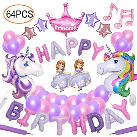 Yidaxing 64pcs Decorazioni Per Feste Unicorno 2pcs Enorme Palloncino