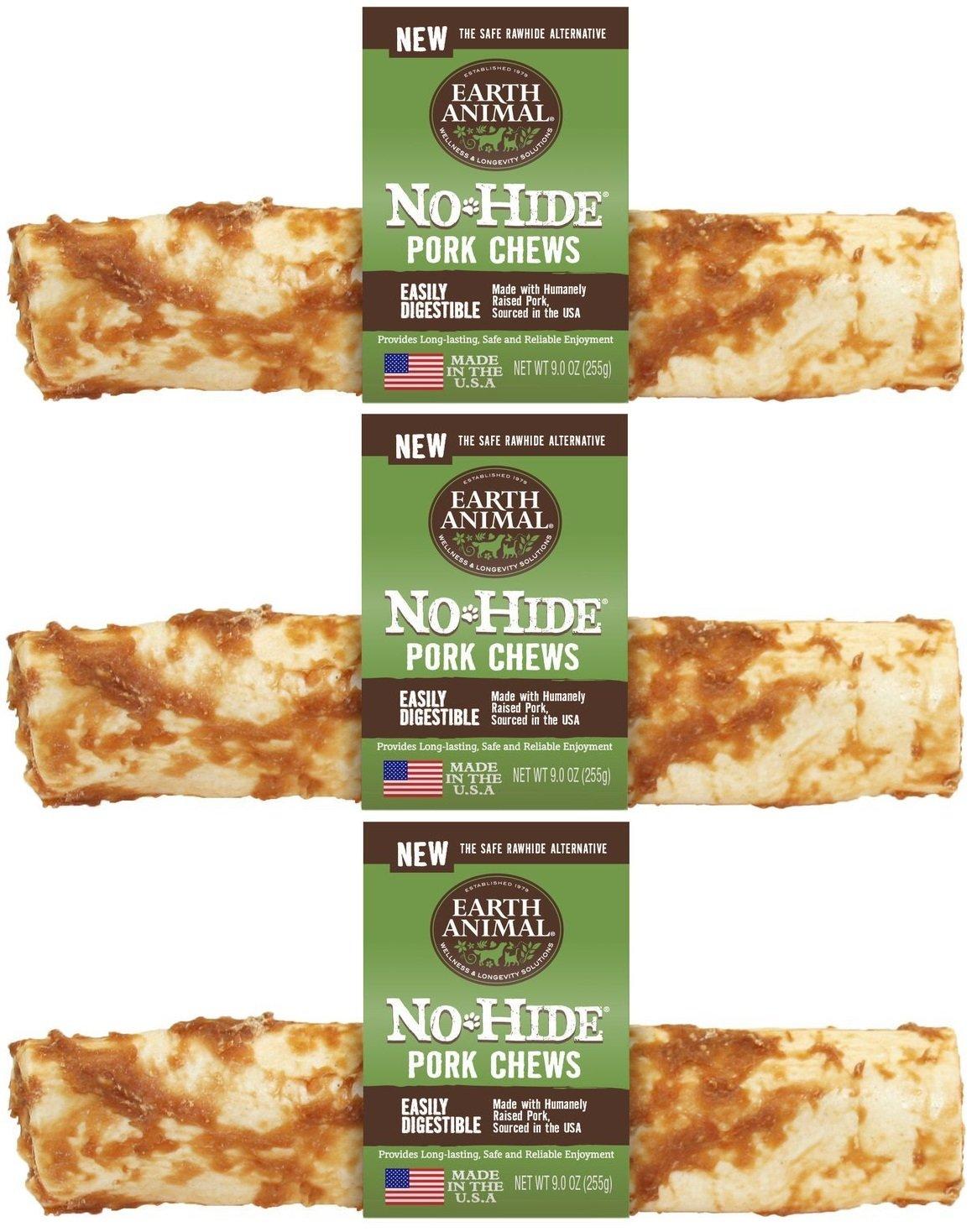 Earth Animal 3 Pack of No-Hide Pork Chews, 7-Inch