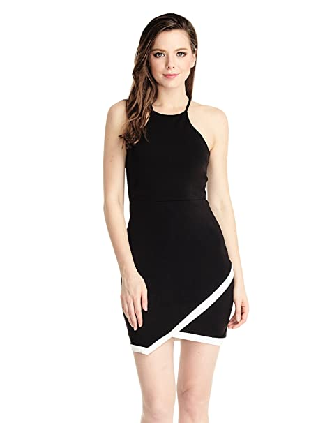 Vestido l¨¢piz corto ajustado negro de mujer de LookbookStore con corte asim¨